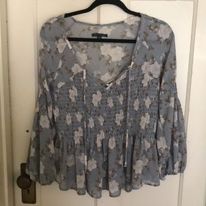 American Eagle smocked top with ties